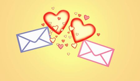 Picture with the image of two written envelopes in an environment set of hearts Stock Photo