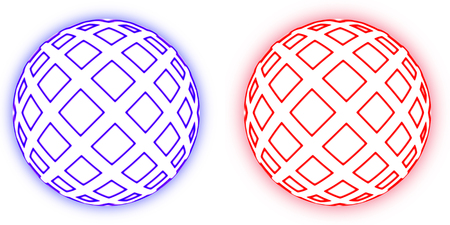 Two simulated spheres with the illumination, isolated on a white background photo