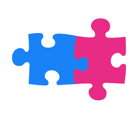 Two components each other are connected in a single whole. Parts of blue and pink color symbolize the man and the woman. The image isolated on a white background. photo