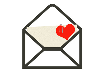 The unpacked envelope, sticks out of it the letter with the attached heart to it. A background white.