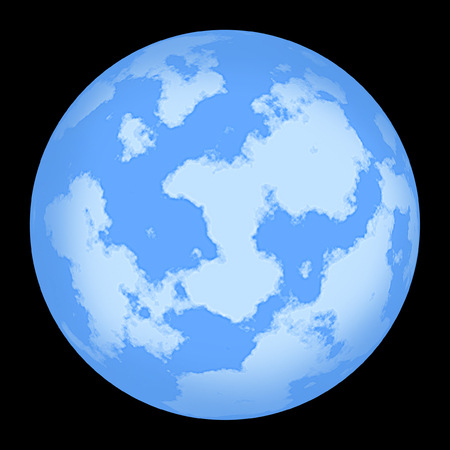 ours: Picture with the image of the unknown planet similar to ours. Isolated. A background black