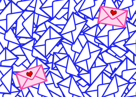 Among set of identical envelopes there are two which differ from all others (color and presence of hearts). Each envelope rejects a shadow on more bottom Stock Photo