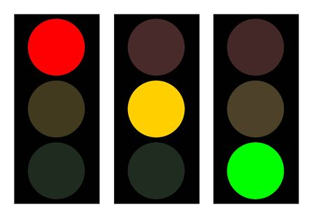 proceed: Figure of a traffic light in three variants with a different luminescence of lamps. Each picture is isolated from the others
