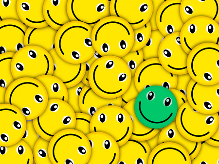 Inconceivable concourse of smiles in one place! They lay the friend on the friend, turned differently, close partially each other. The empty space on a picture is not present. One smile differs from all color (green).The image is initially created as rast Stock Photo
