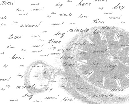 The picture is intended to be a background. The background represents a white field on which it is a little dim it is possible to see ancient watch and set of the words symbolizing current of time and its intervals (pieces).