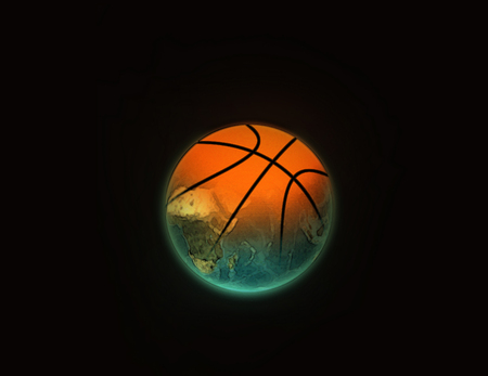 The basketball ball smoothly passing in globe. A background black
