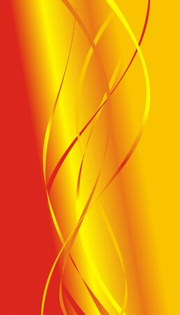 Strips of red, orange and yellow color on a red background smoothly passing in yellow