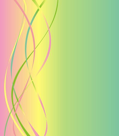 The background smoothly passing from pink color in yellow and green colors with a lateral pattern in the form of waves of different colors