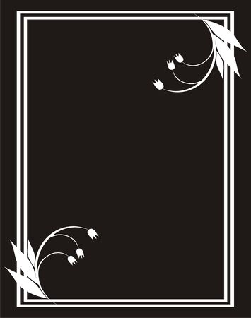 corner border: Framework of white color with a flower pattern and a border on a black background Illustration