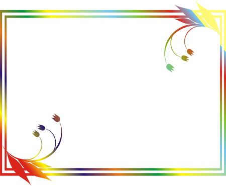 green leaves border: Framework with a flower pattern of red, yellow, dark blue and green color and a border on a white background