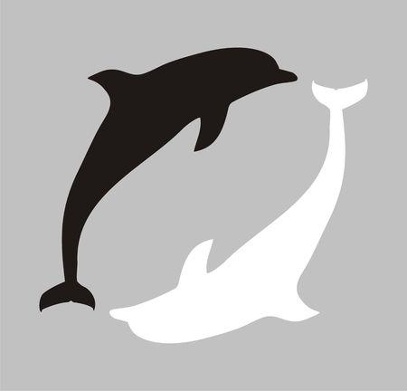 Figura con la imagen de dos siluetas de los delfines. Asociación con una insignia de la transformación secundaria. Foto de archivo - 1755906