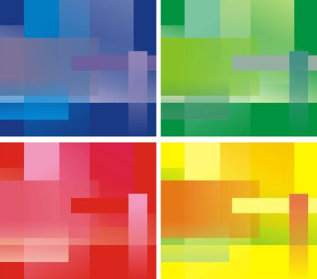 Four variants of a background of green, yellow, red and dark blue colors from translucent rectangulars