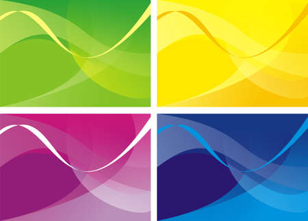 Four variants of a background with a pattern from waves and gradient. Primary colours: yellow, green, violet, dark blue Stock Photo - 1755913