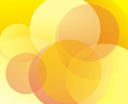 Yellow background with abstract figure in the form of translucent circles of an orange and yellow shade Stock Photo