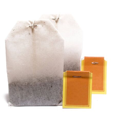 Bags with tea for fast preparation of tea. The image is isolated on white.  photo
