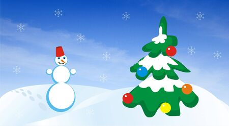 snowdrifts: Figure of the snowball going on snowdrifts to a christmas fur-tree, decorated by spheres. Figure on a background of the blue sky with clouds and snowflakes