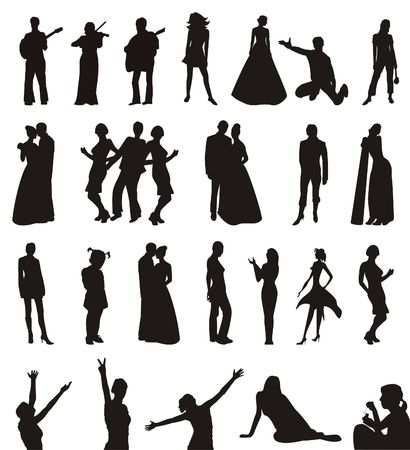 The figure containing of some silhouettes of men and women in different poses. The image is executed by black color on a white background Stock Photo