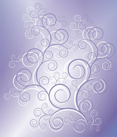 The figure representing a pattern from lilac and white curls and white lines and branch on a lilac-blue background photo