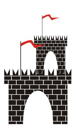 The figure representing a tower with a gate from a black brick with a red flag on a staff. Figure is located separately on a white background photo