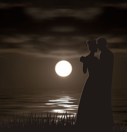 man in the moon: silhouettes of the man and the woman on a background of night landscape. Stock Photo