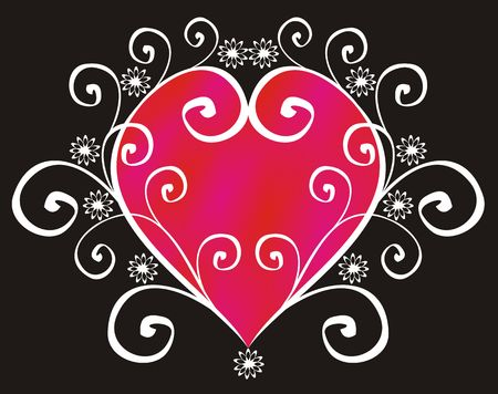 voluptuous: The figure representing red and pink heart in a white pattern from curls and flowers on a black background