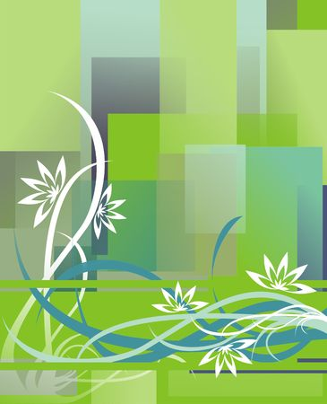 The figure representing a pattern in the form of lines, strips, flowers and curls On a background of azure and green shades Stock Photo - 2011413