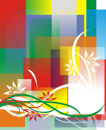 The figure representing a pattern in the form of lines, strips, flowers and curls on a multi-color background Stock Photo - 2011414