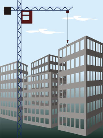 erect: The illustration representing the working building crane on construction new at home on a background of the blue sky.