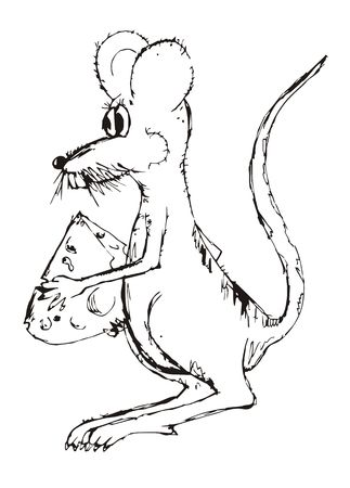 Illustration in the naive style, the representing mouse.  Stock Photo