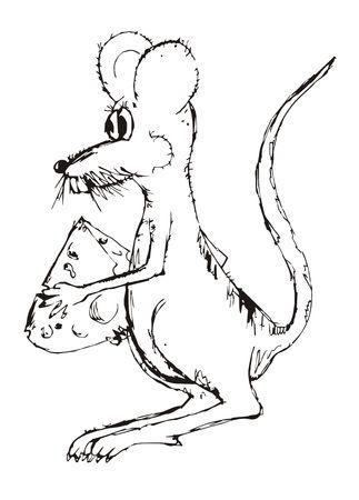 rata caricatura: Ilustraci�n en el estilo ingenuo, que representa el rat�n. Foto de archivo