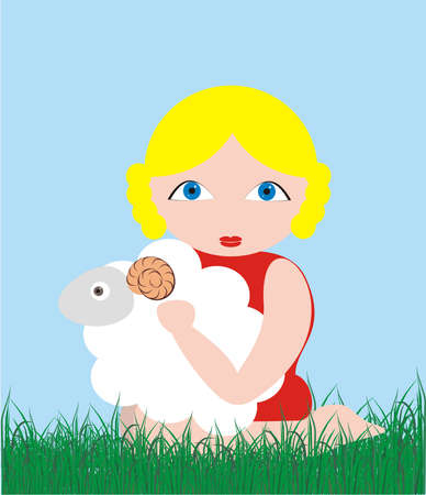 The illustration consisting of figure of the girl, holding in a lap the lamb on a background of the blue sky and a green grass illustration