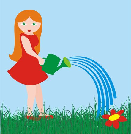 The girl with a watering can in solar summer day. An illustration.