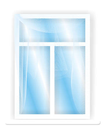 portiere: Illustration, with the image of a white plastic window and the blue sky behind it. The figure representing an interior with a tulle on a background of a white wall.