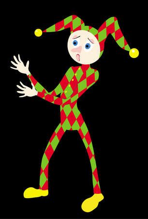 The illustration representing the scared harlequin in red-green clothes. The figure of a toy is isolated on a black background illustration