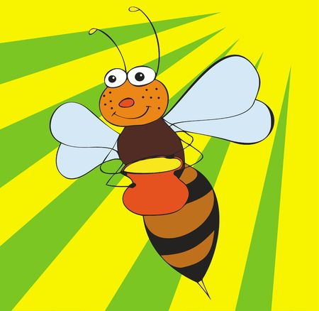 comic wasp: The illustration representing an animated flying bee with a pot of honey on a background of the sun