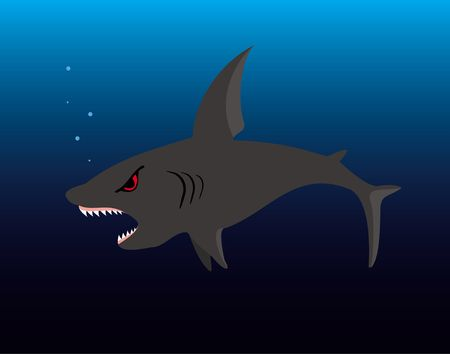 The illustration representing a spiteful shark with an open mouth on a background of the dark blue sea illustration