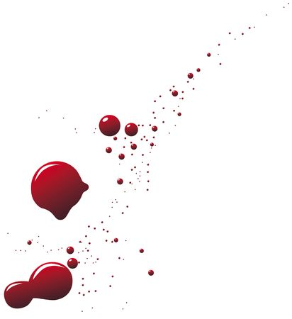 scarlet: Drops of blood on white. An illustration.