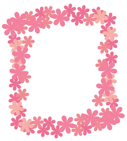 Framework from abstract flowers of pink color on a white background