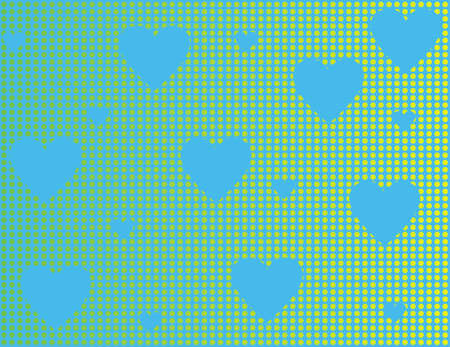 simplicity: Blue background with blue hearts and yellow circles. illustration.