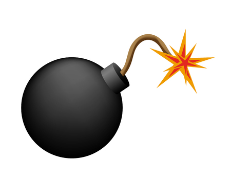Bomb before explosion on white Illustration