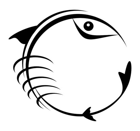 concluded: The figure representing a black pattern in the form of a fish, concluded in a circle, on a white background