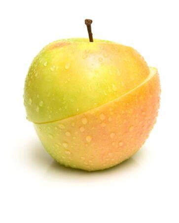 unlike: Apple two-piece fruit. Isolation, shallow DOF.