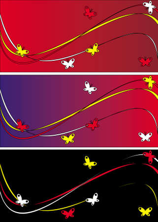 The figure representing three variants of a background with a pattern in the form of waves and curves of different color and butterflies Stock Photo - 2461282
