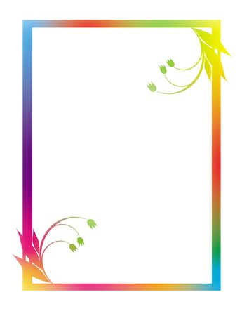 scroll frame: Framework with a flower pattern of red, yellow, blue and green color and a border on a white background