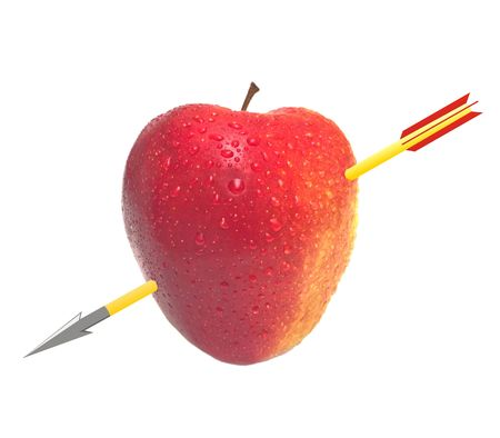 The apple similar to heart, through pierced with the drawn arrow. A photomontage. Isolation on the white Stock Photo - 2480807