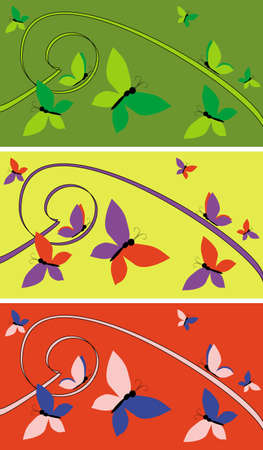The figure representing three variants of a background with a pattern in the form of waves and curves of different color and butterflies Stock Photo - 2507108