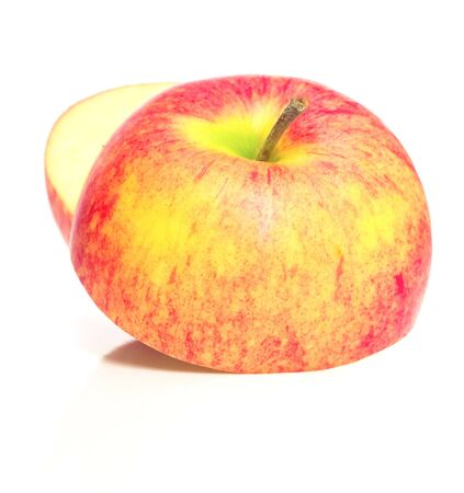 sweet segments: Two half one apple. Isolation on white. Shallow DOF. Stock Photo