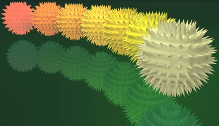 prickly: Illustration with the image of unusual prickly spheres of different colors Stock Photo
