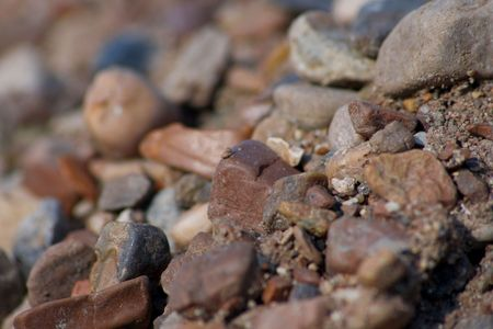 elaboration: Loose of river sand close up. High detailed elaboration. Shallow DOF Stock Photo