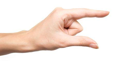 decreasing in size: La mano mostrando le piccole dimensioni. Isolamento su uno sfondo bianco